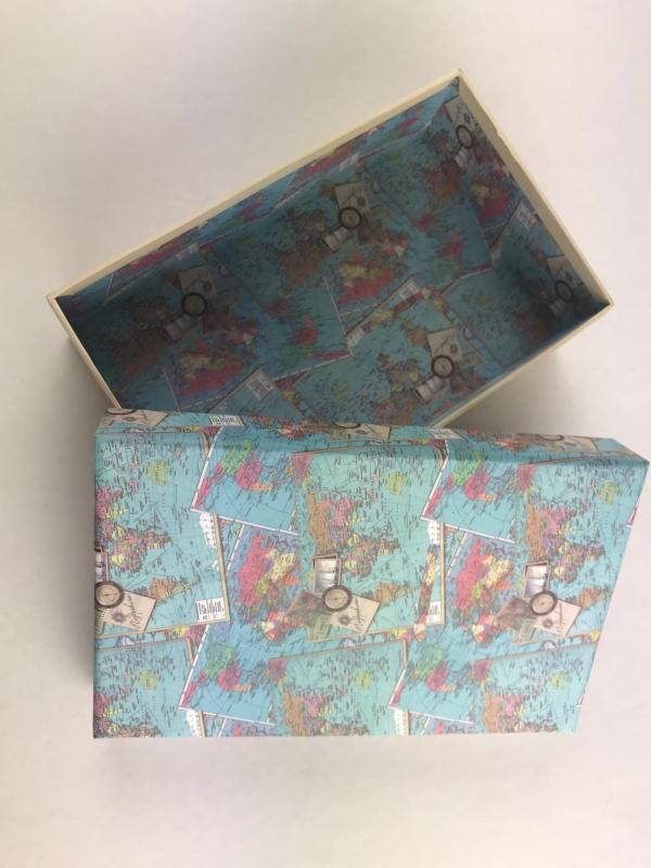 Подарочная коробка Карты мира 20 х 13 х 6см. Поздравляю!