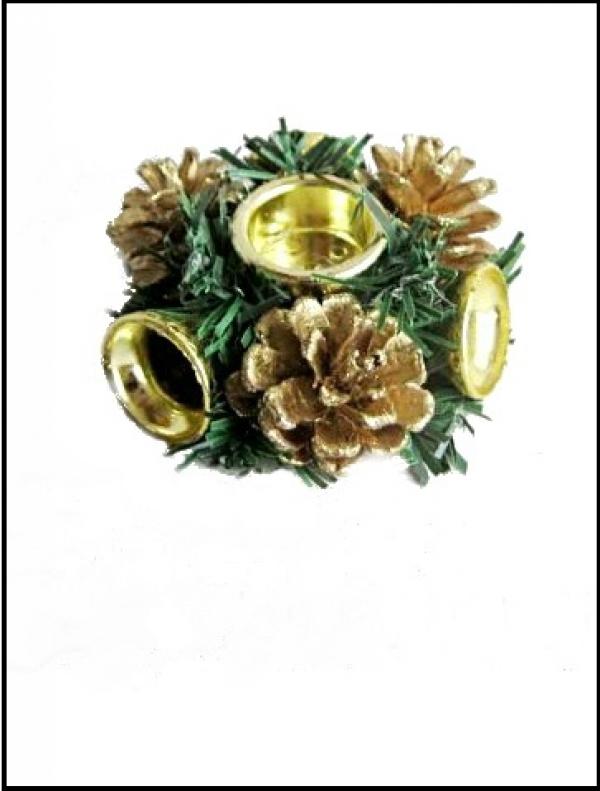 Подсвечник «Рождественский венок» золотой