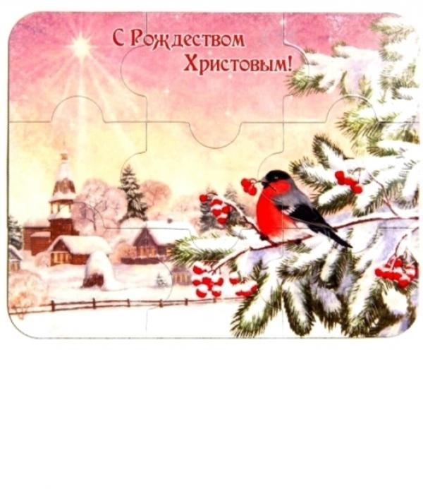 Магнит- пазл. С Рождеством Христовым! (Снегирь)