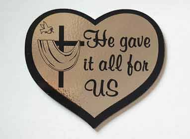 Шилдик (сердце) «He gave it all for as» (золото)