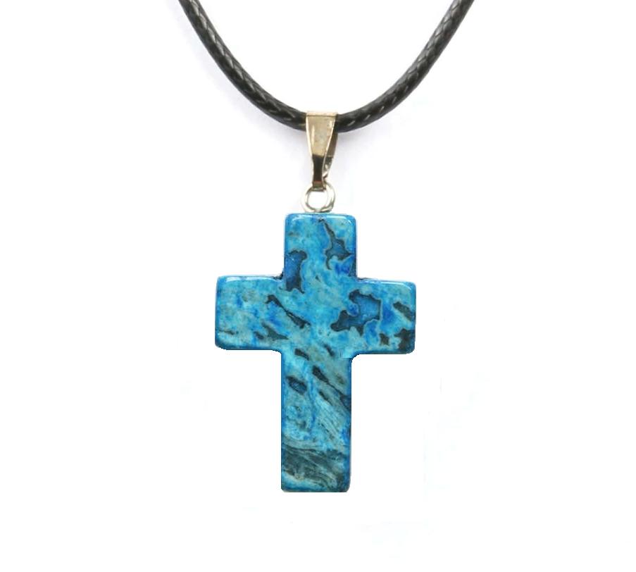 Кулон в виде креста из натурального камня (Синий кружевной агат)