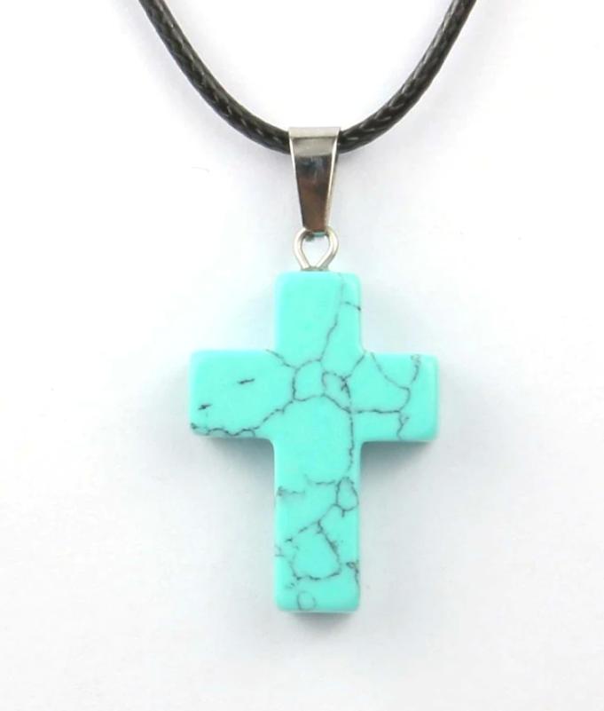 Кулон в виде креста из натурального камня (Бирюза)