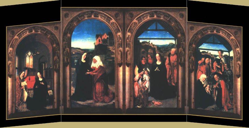 Многостворчатый алтарь «Благовещение. Встреча Марии с Елизаветой. Рождество Христово. Поклонение волхвов», Дирк Боутс