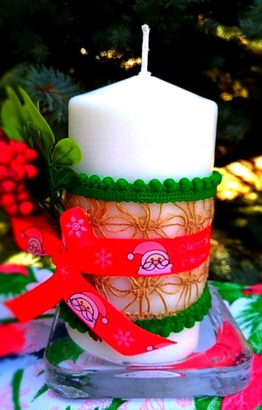 Рождественская свеча декорированная 03