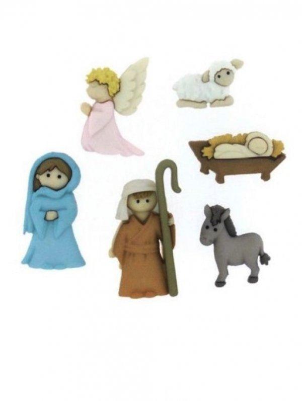 Набор декоративных рождественских фигурок-пуговиц