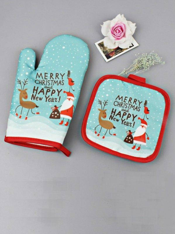 Рождественская прихватка (Marry Christmas & Happy New Year, голубая)