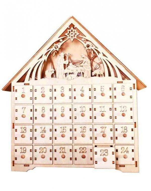 Адвент-календарь. Домик деревянный. Рождественский вертеп