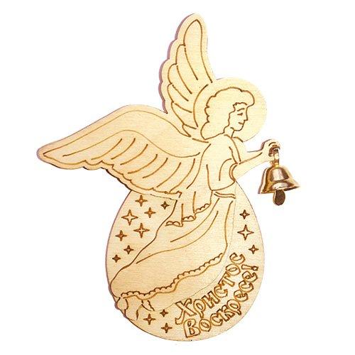 Пасхальный многоуровневый магнит с колокольчиком. Ангел