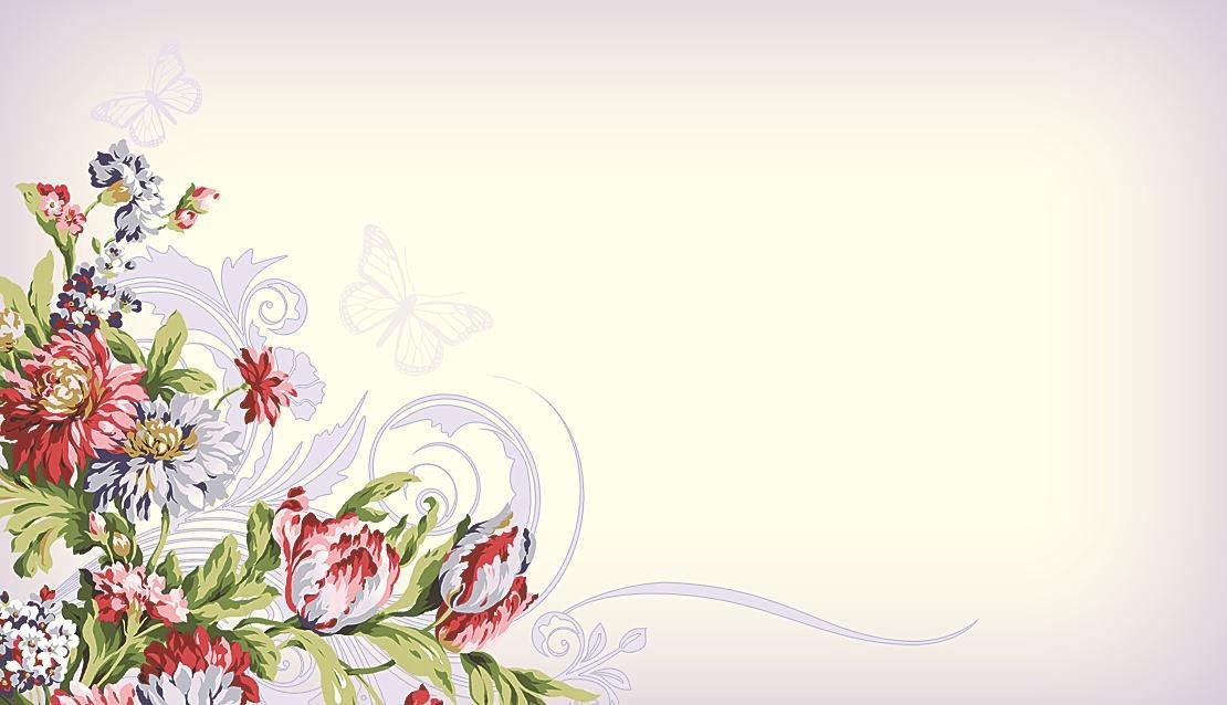 Набор универсальных визиток 007 «Бабочки и цветы»