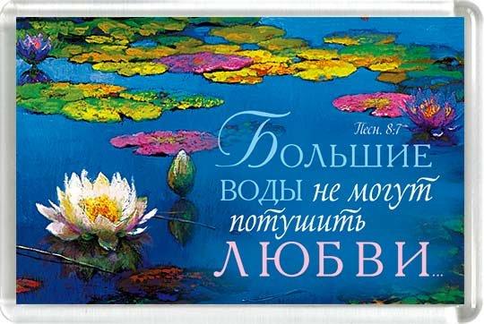 Магнит 019 «Большие воды не могут потушить любви»
