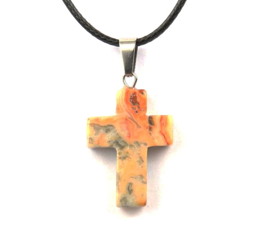 Кулон в виде креста из натурального камня (Кружевной агат)