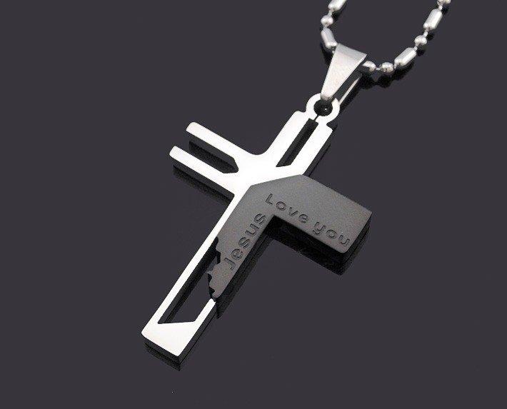 Кулон в виде креста из нержавеющей стали. Jesus love you