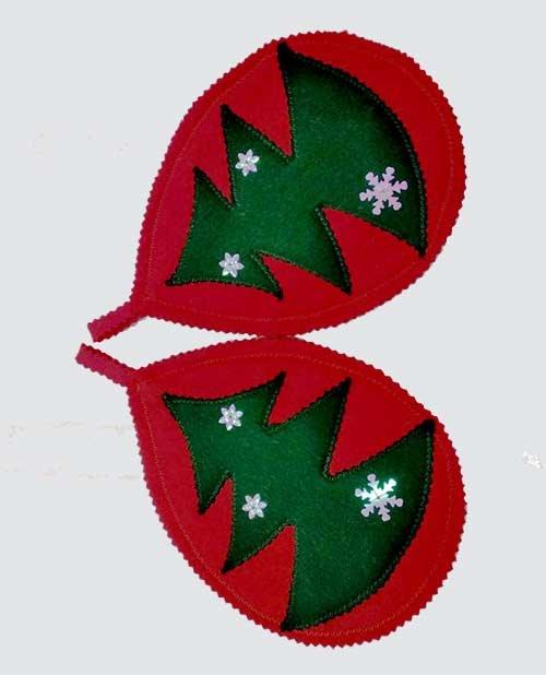 Новогодние прихватки-подставки красные с елочкой