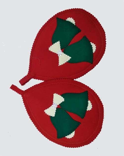Новогодние прихватки-подставки красные с колокольчиком