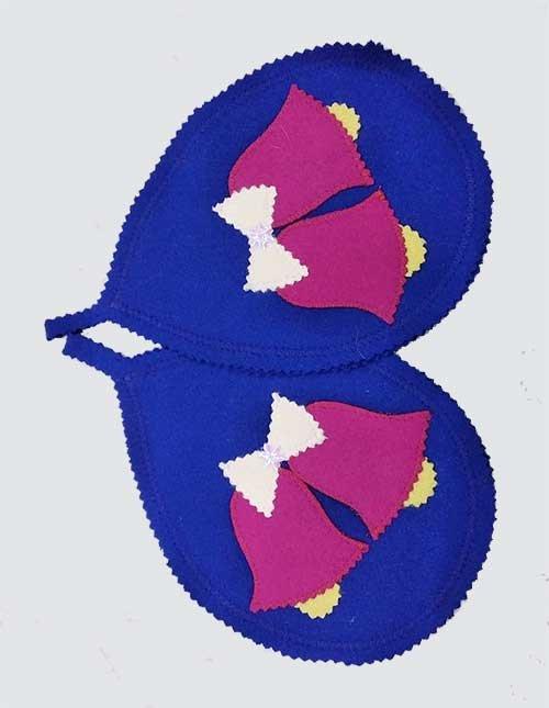 Новогодние прихватки-подставки синие с колокольчиком