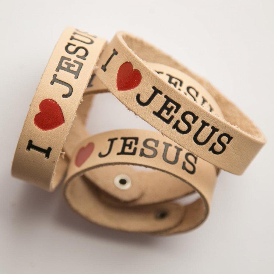 БРАСЛЕТ из натуральной кожи. I love Jesus (сердце)