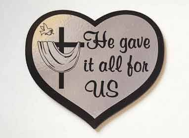 Шилдик (сердце) «He gave it all for as» (серебро)